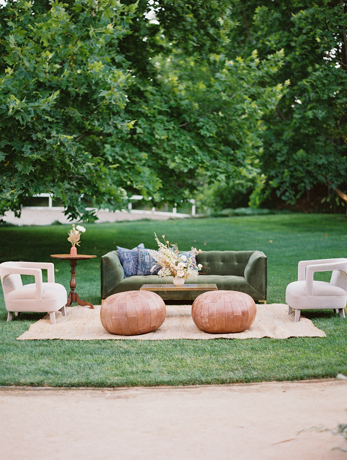 boho outdoor wedding lounge area