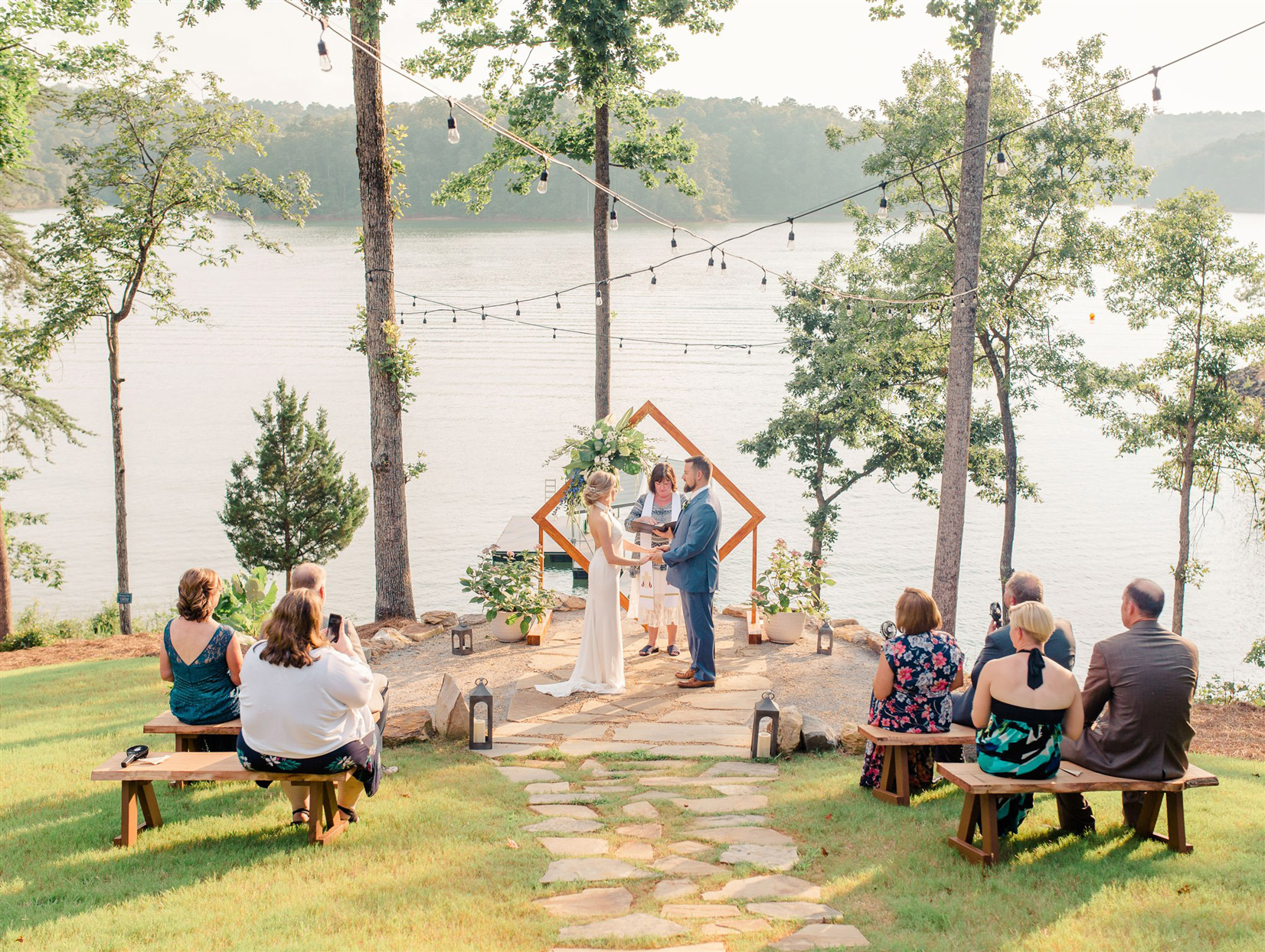 small wedding ceremony overlooking waterfront
