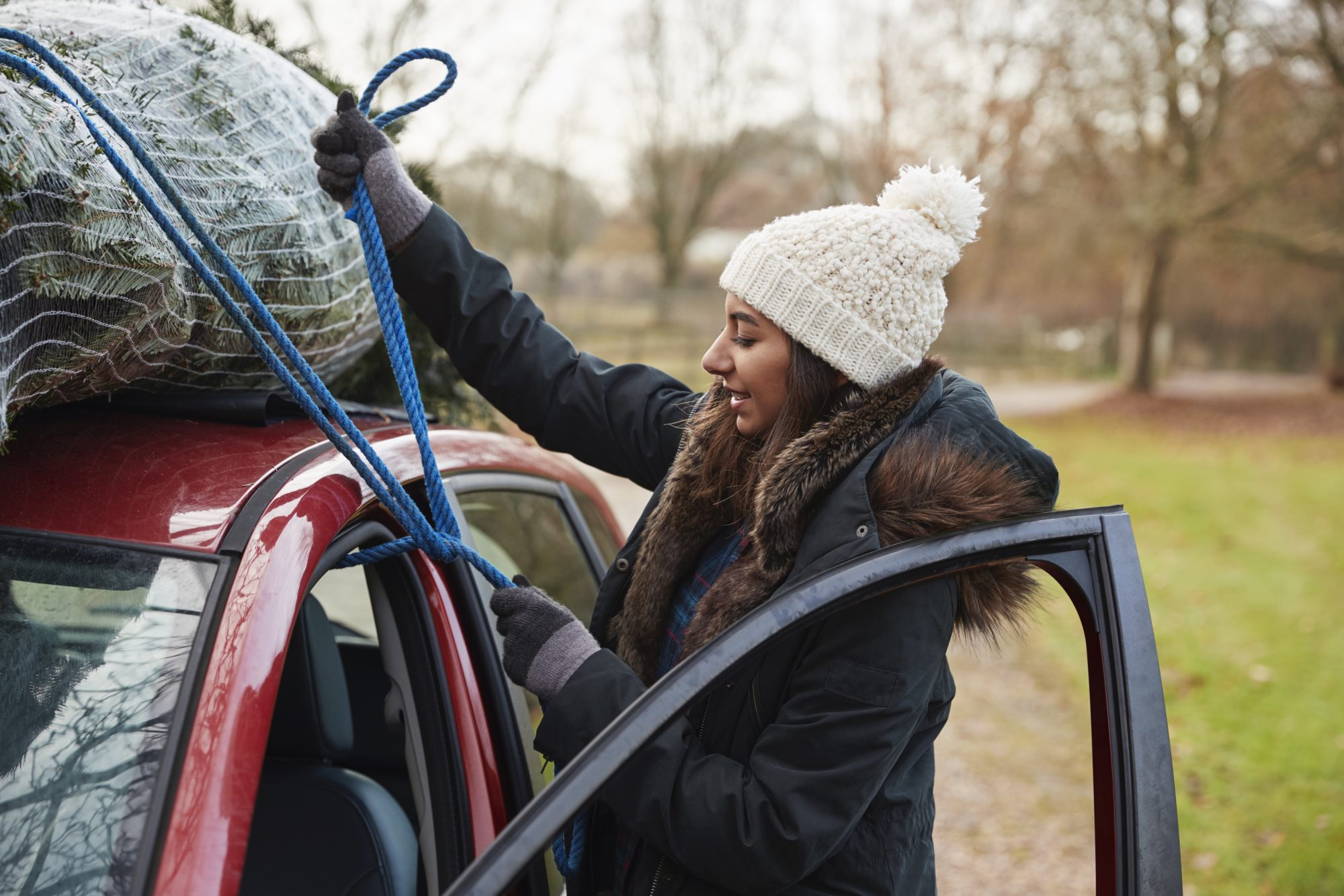 young woman tying Christmas tree to roof of a car