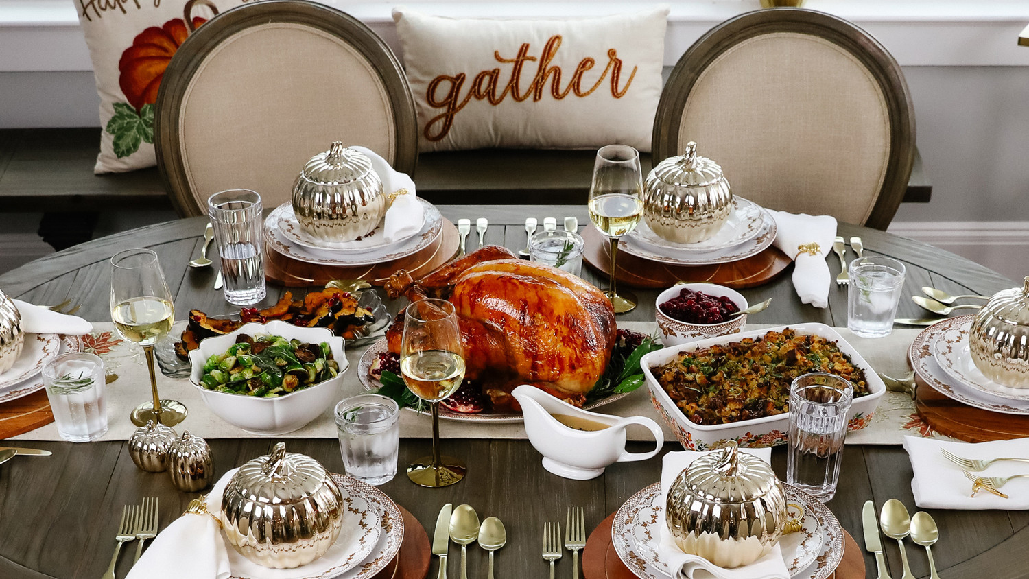 Thanksgiving table spread and gather pillow