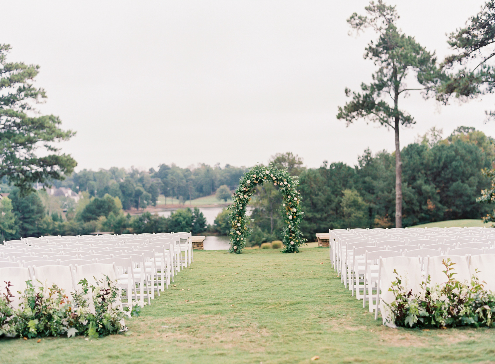 outdoor wedding venue with lake view