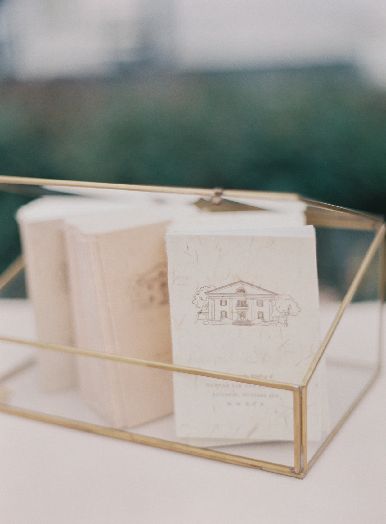 elegant wedding programs in clear box with gold lining