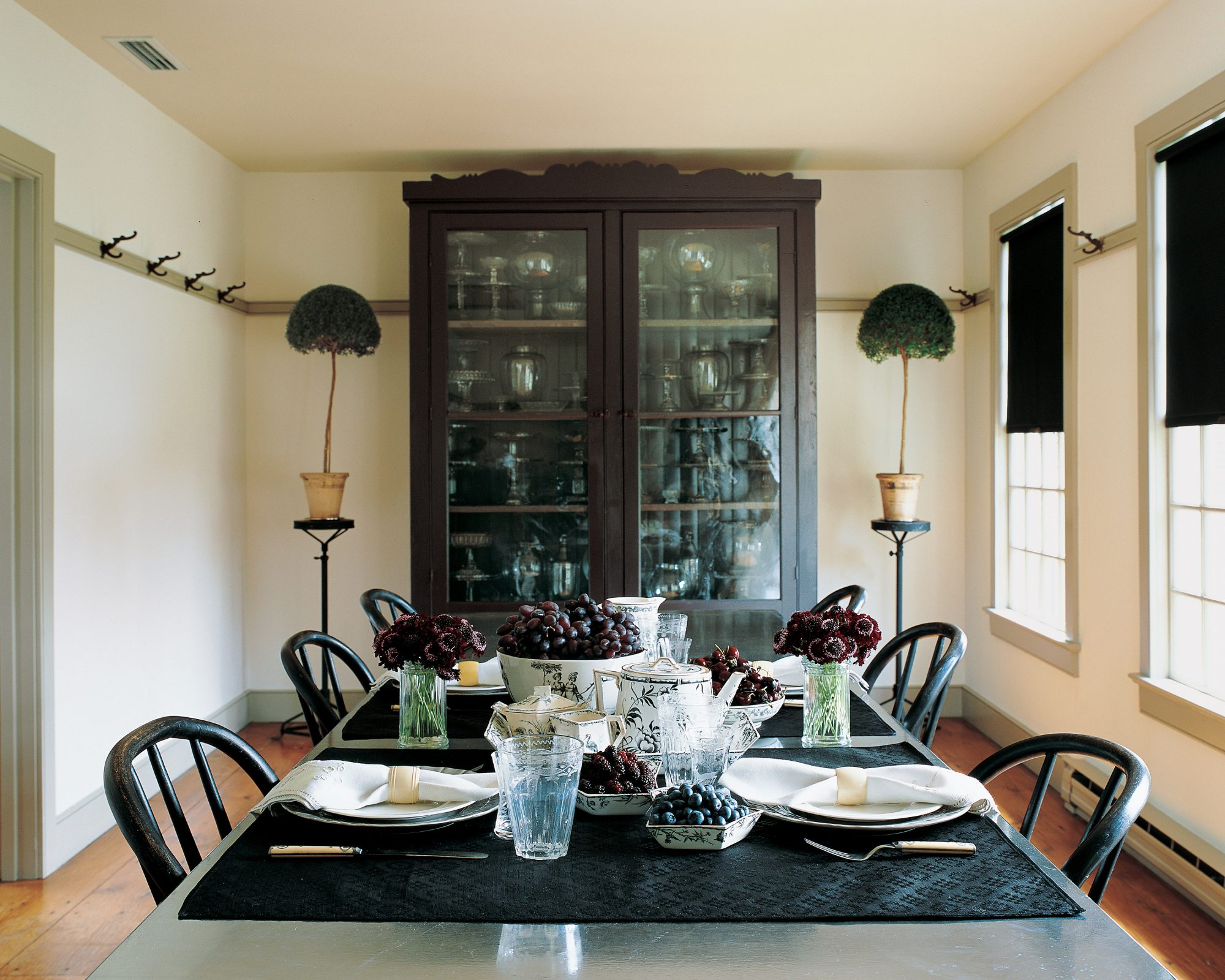 black furniture in dining room