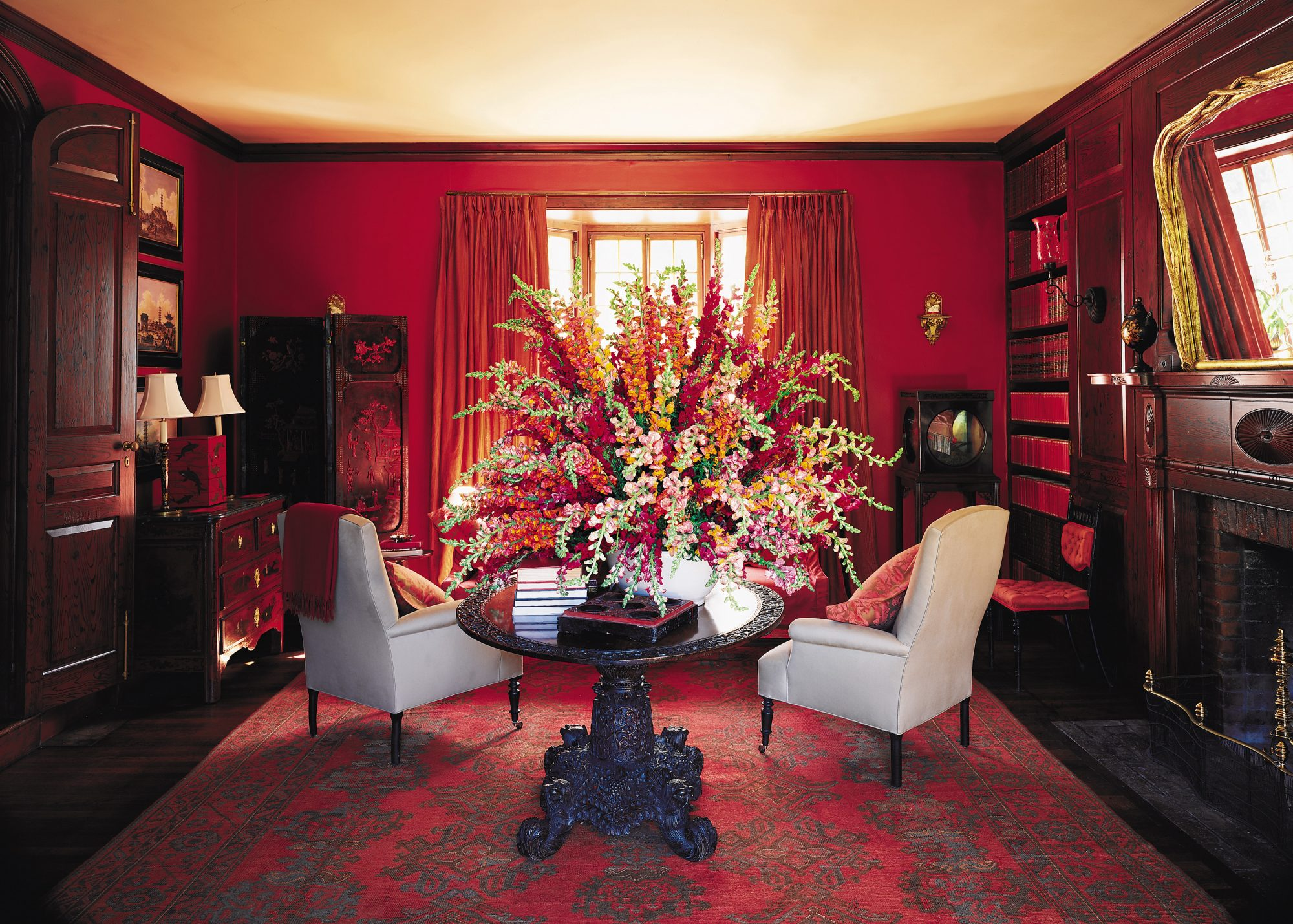 red sitting area