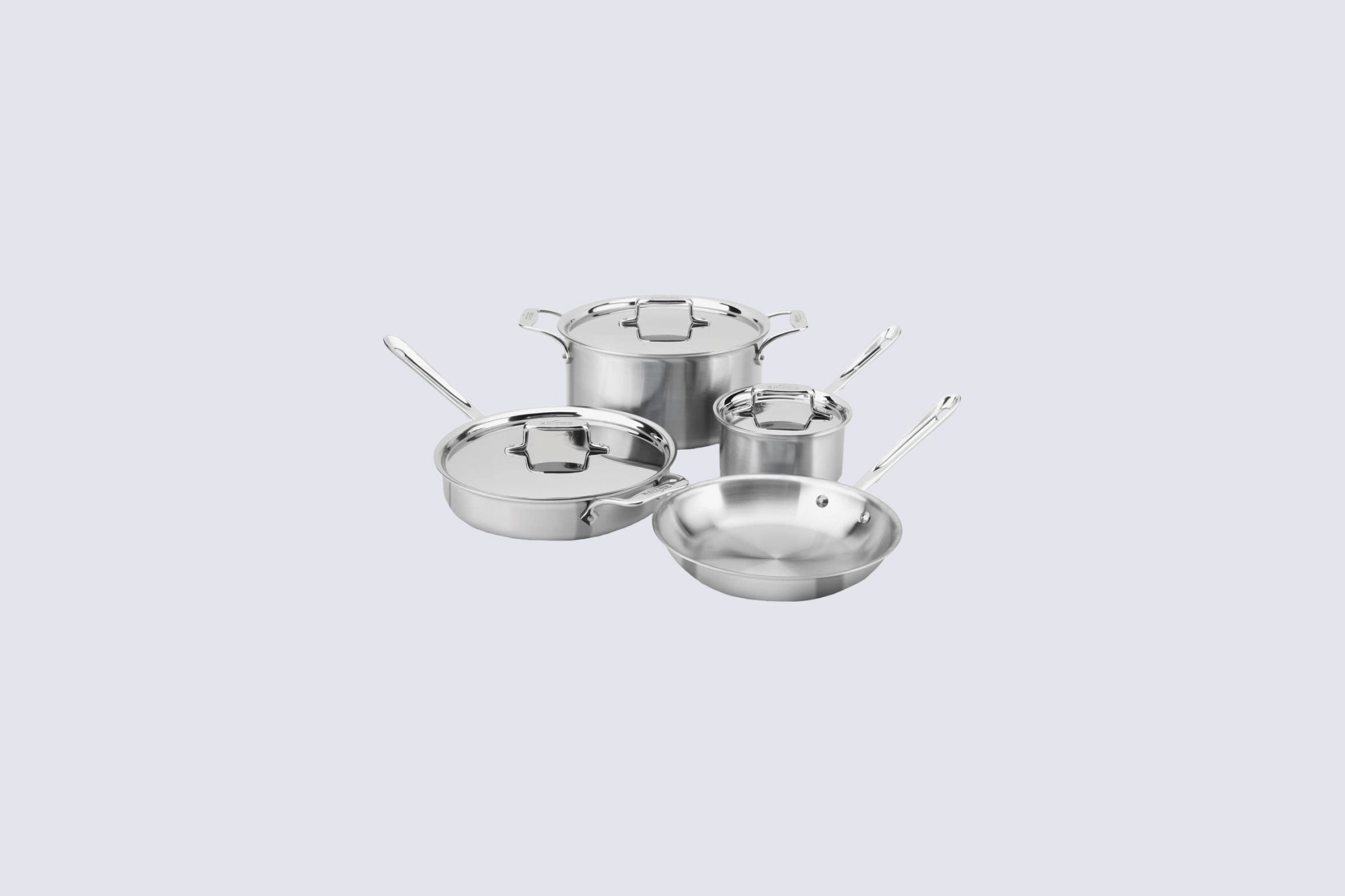 All Clad Stainless Steel 5-Ply Bonded Dishwasher Safe Cookware Set