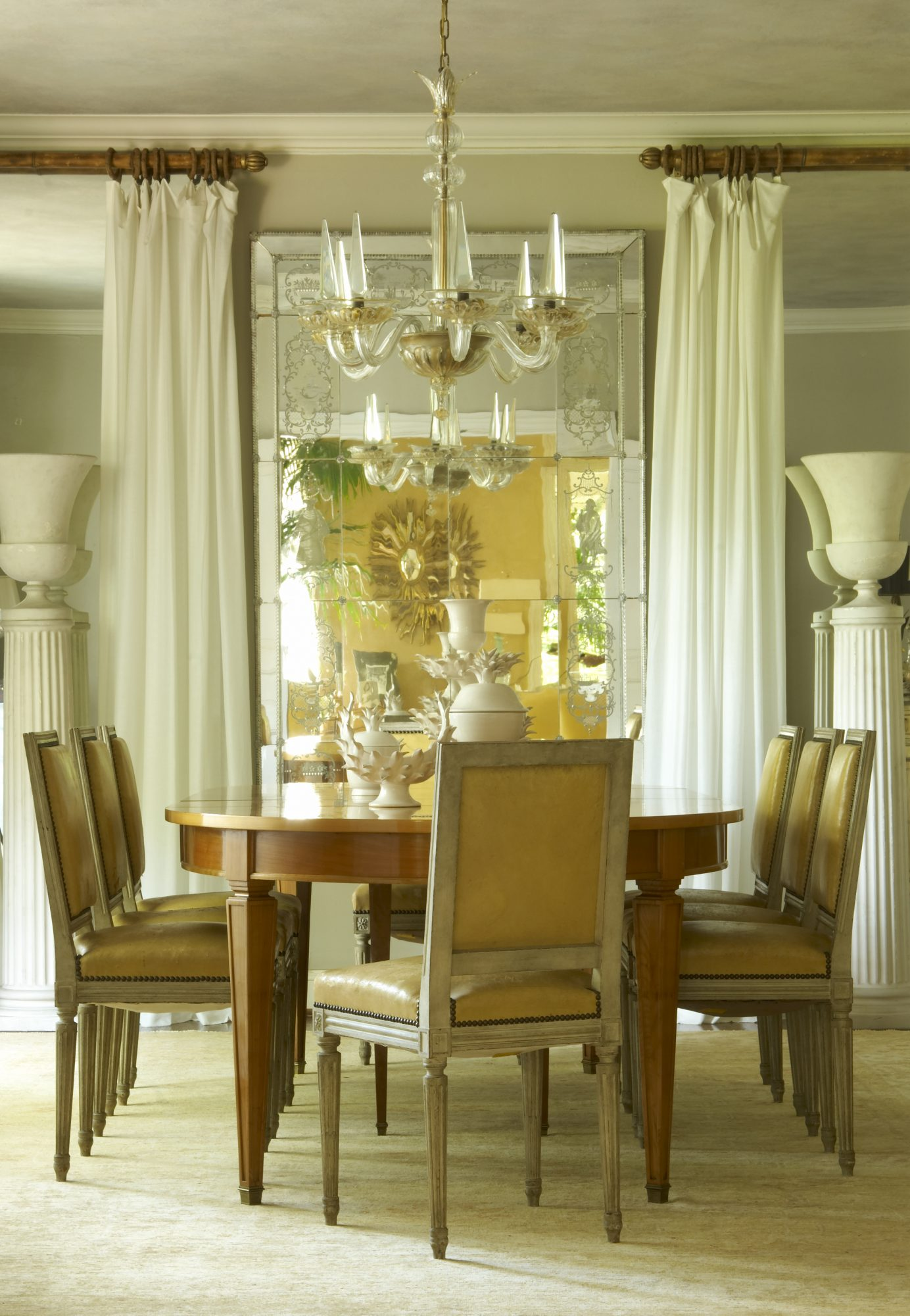 antiques in a dining room