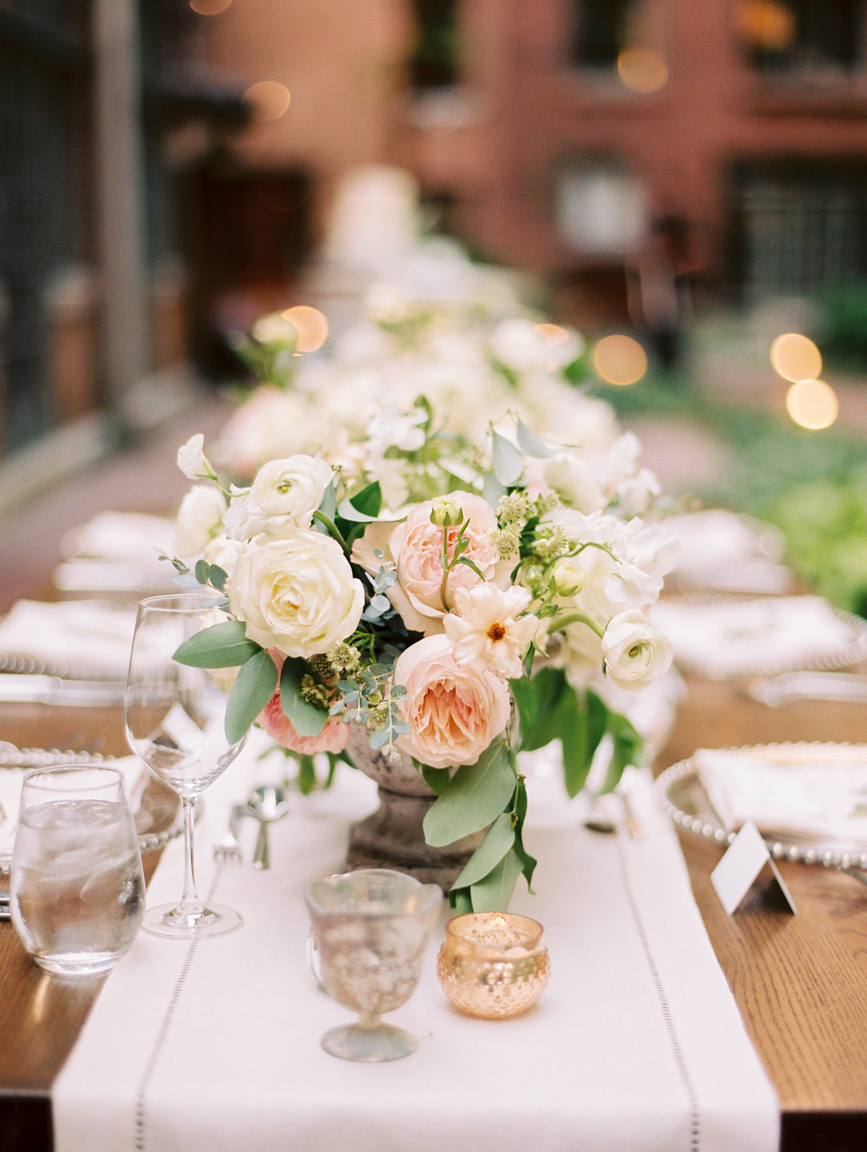 pastel pink and white floral centerpiece