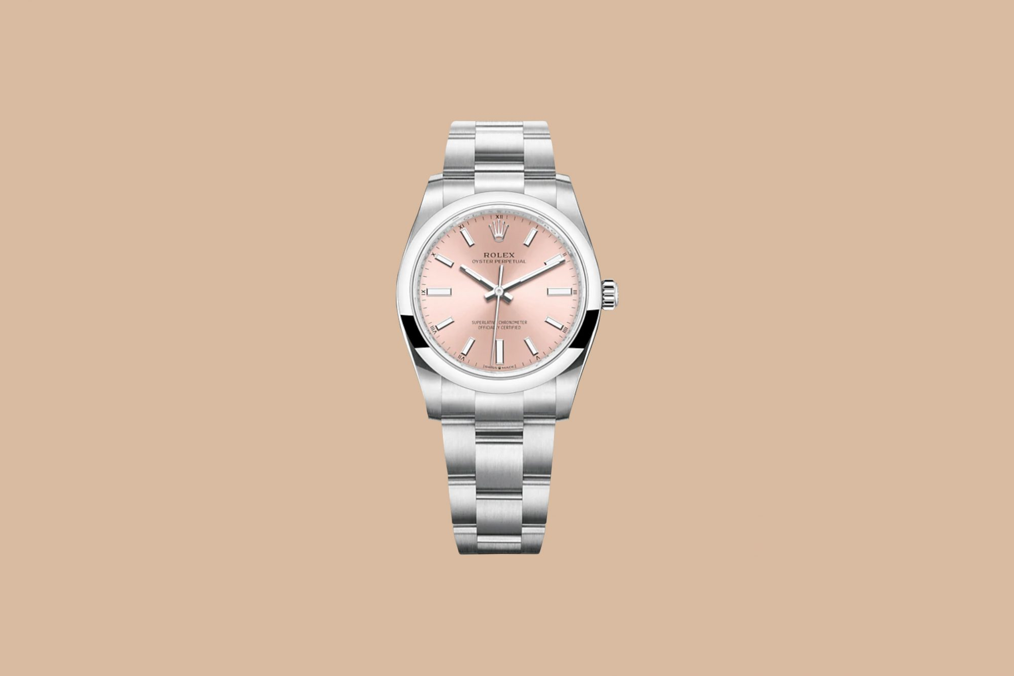 """Rolex """"Oyster Perpetual"""" Watch with Pink Face"""