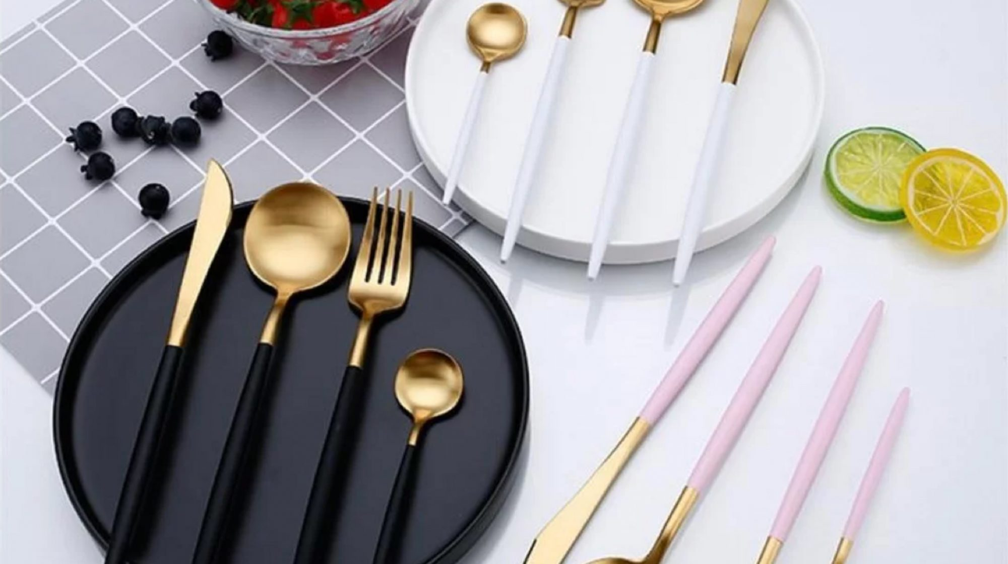 Gold and Matte White Luxury Four-Piece Flatware Set