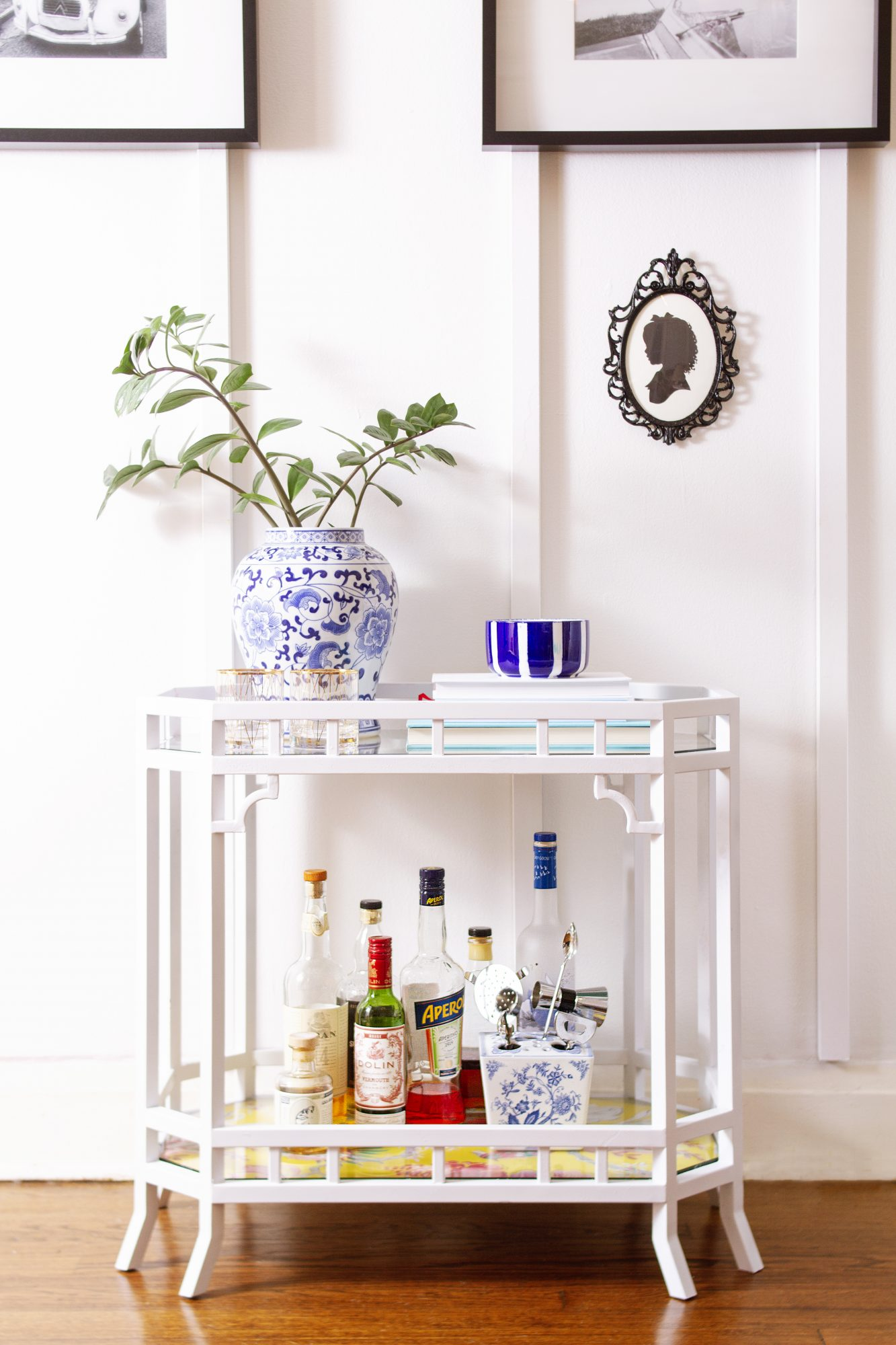 white painted bar cart