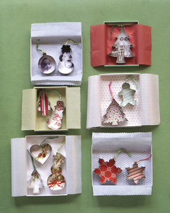 Christmas cookie cutter ornaments in boxes