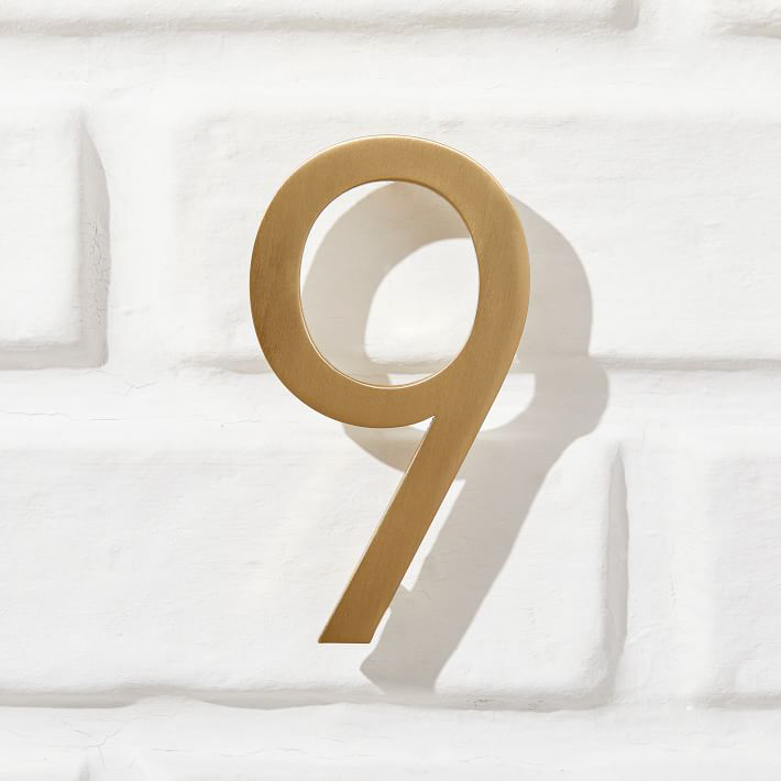 Modernist House Numbers in Antique Brass