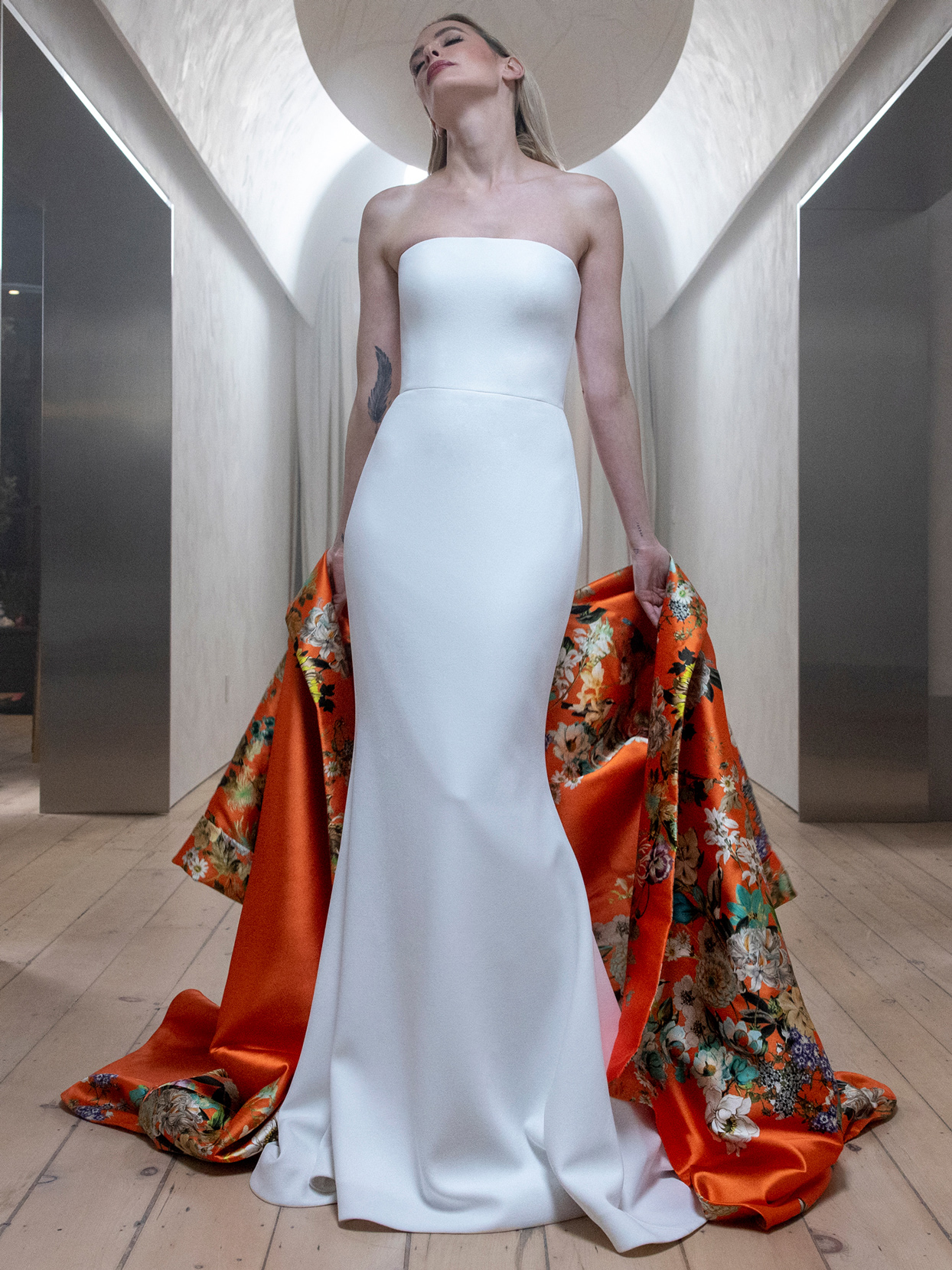 Romona Keveza straight across strapless fit and flare wedding dress fall 2021