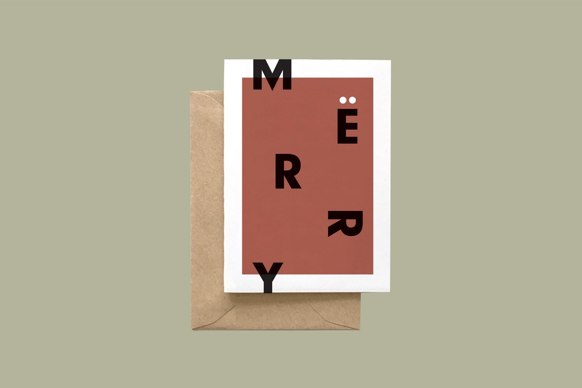 red merry holiday card
