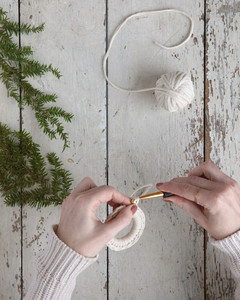 working yarn as a 5-inch tail and pull through the loop crochet wreath