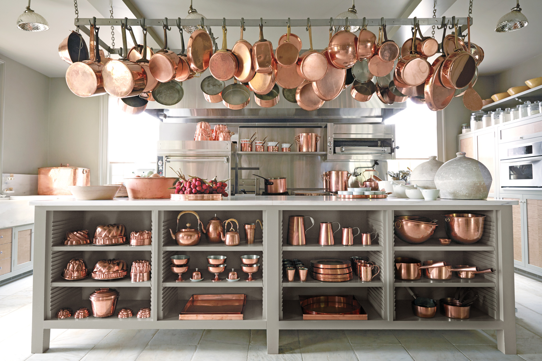 kitchen at Bedford with copperware
