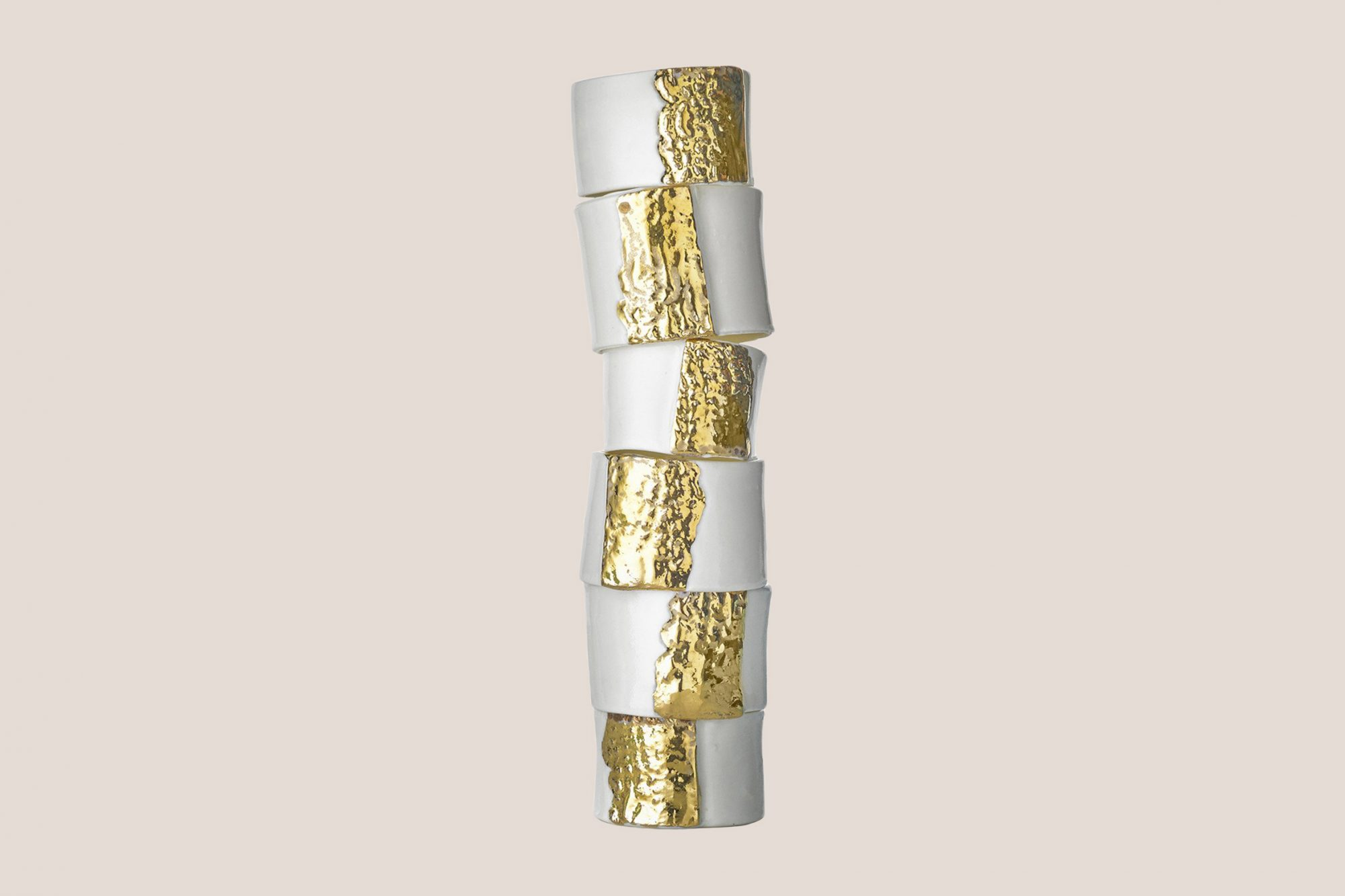 Summerill & Bishop Embossed Porcelain Napkin Rings in Gold