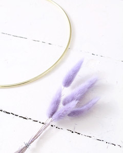 bundling bunny tails to a wreath ring