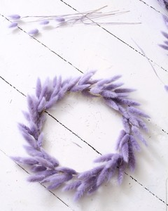 wreath with lavender bunny tails