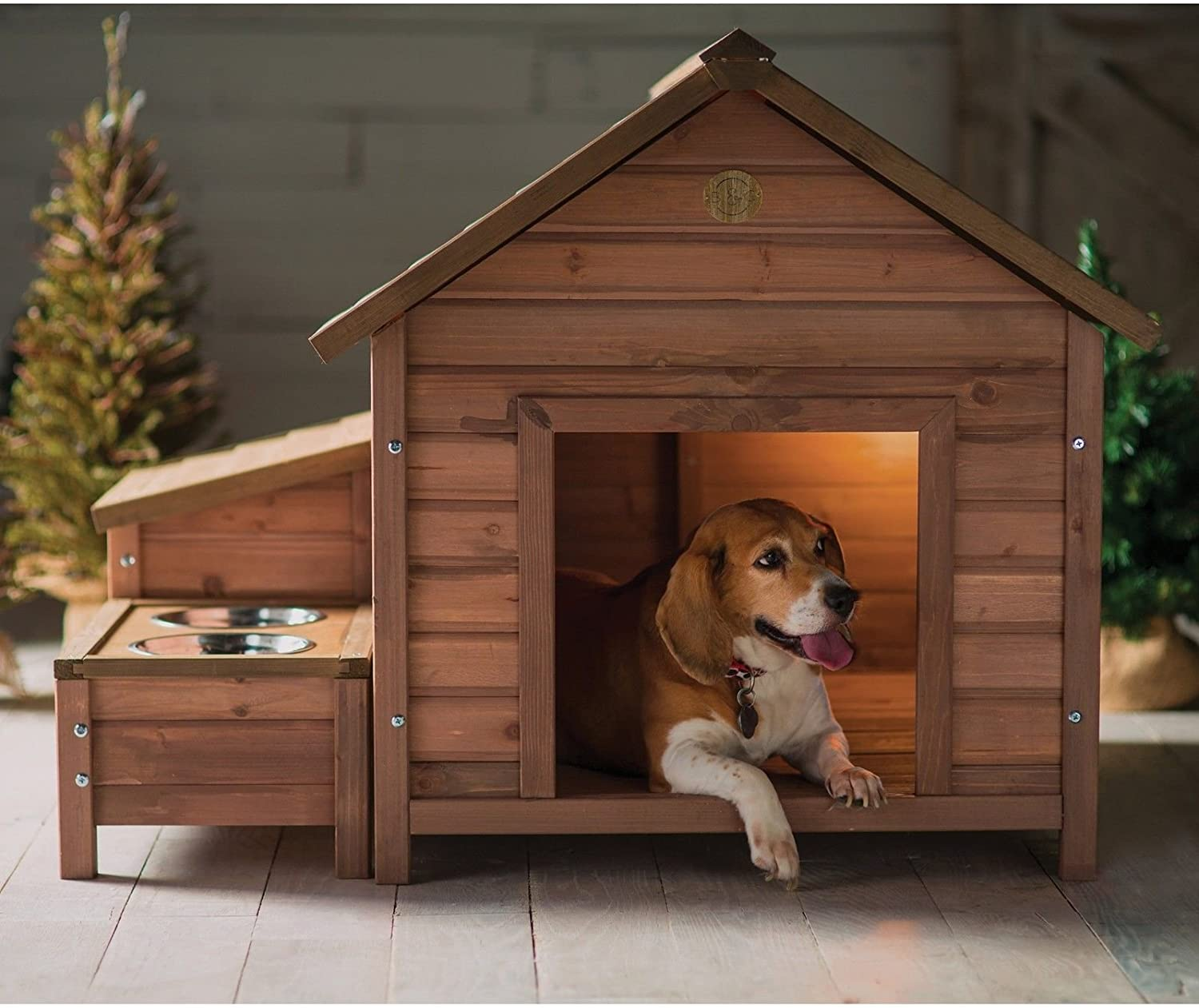 dog house with food bowls