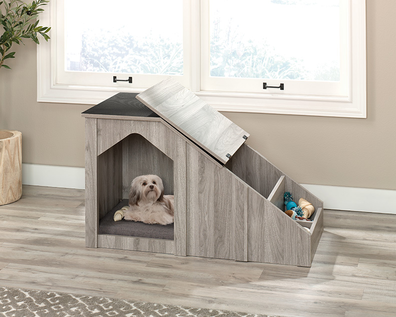 gray wood dog house