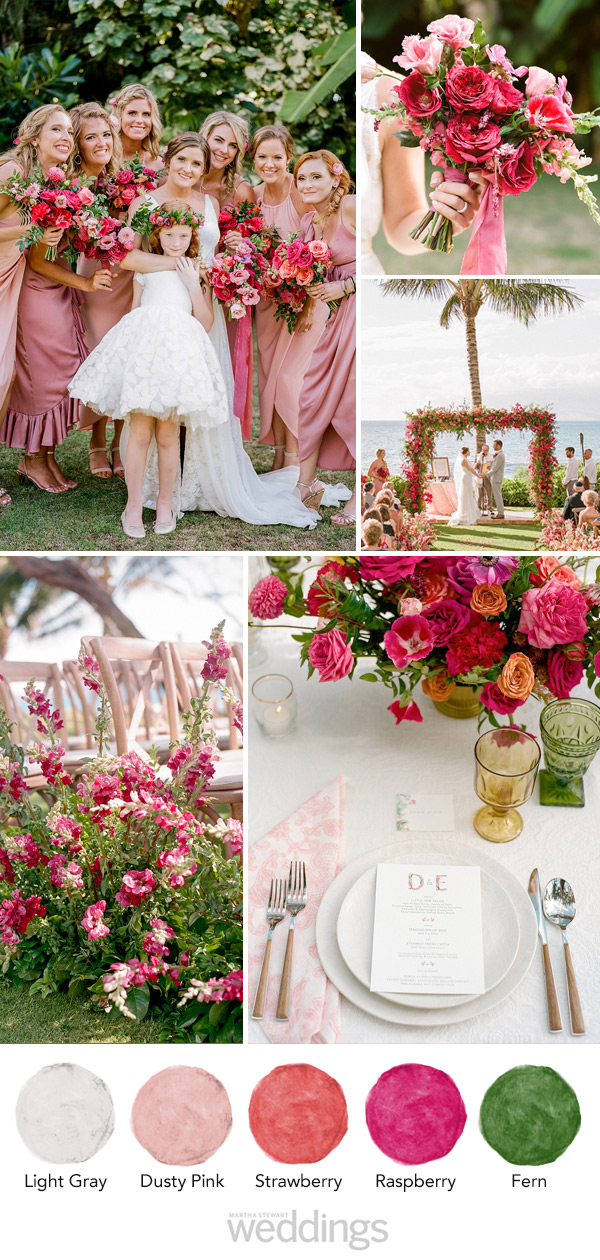 wedding color palette mood board pink and green and gray