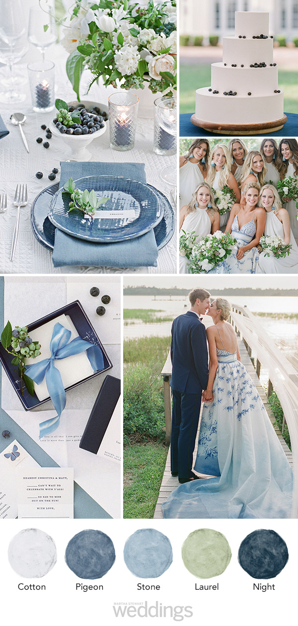 wedding color palette mood board muted blue and green
