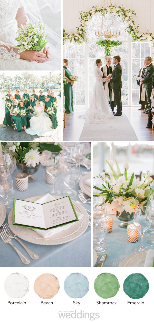 wedding color palette mood board pale green and blue and peach