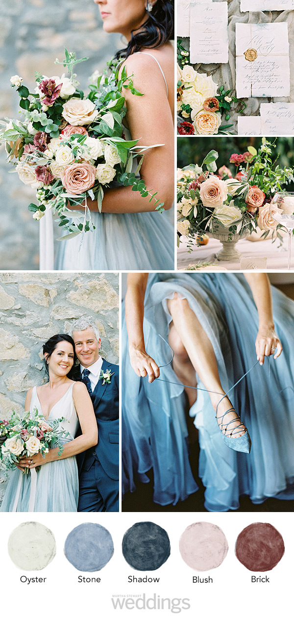 wedding color palette mood board blue, brick and oyster