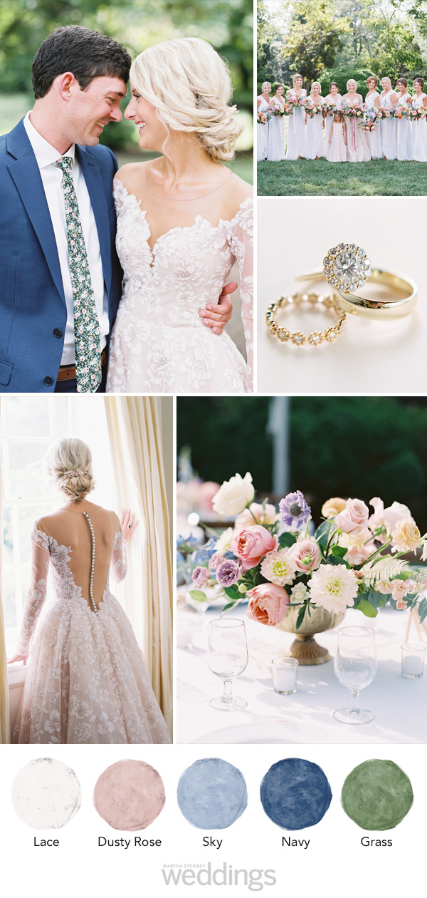 wedding color palette mood board dusty rose, navy and grass