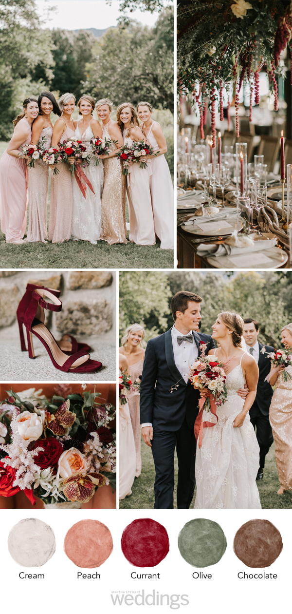 wedding color palette mood board peach, currant, olive and brown