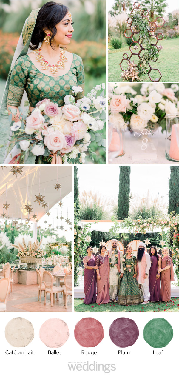 wedding color palette mood board pink, plum and green