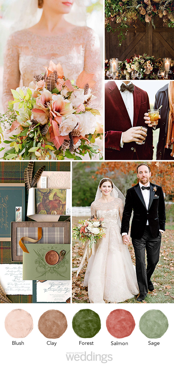 wedding color palette mood board salmon, clay, and sage