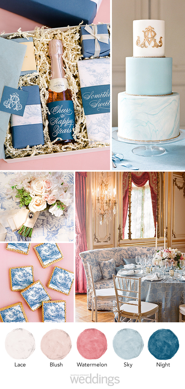 wedding color palette mood board watermelon, blush, and blue
