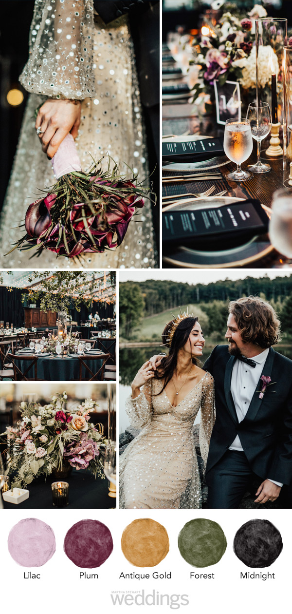 wedding color palette mood board lilac, plum, gold, forest, midnight