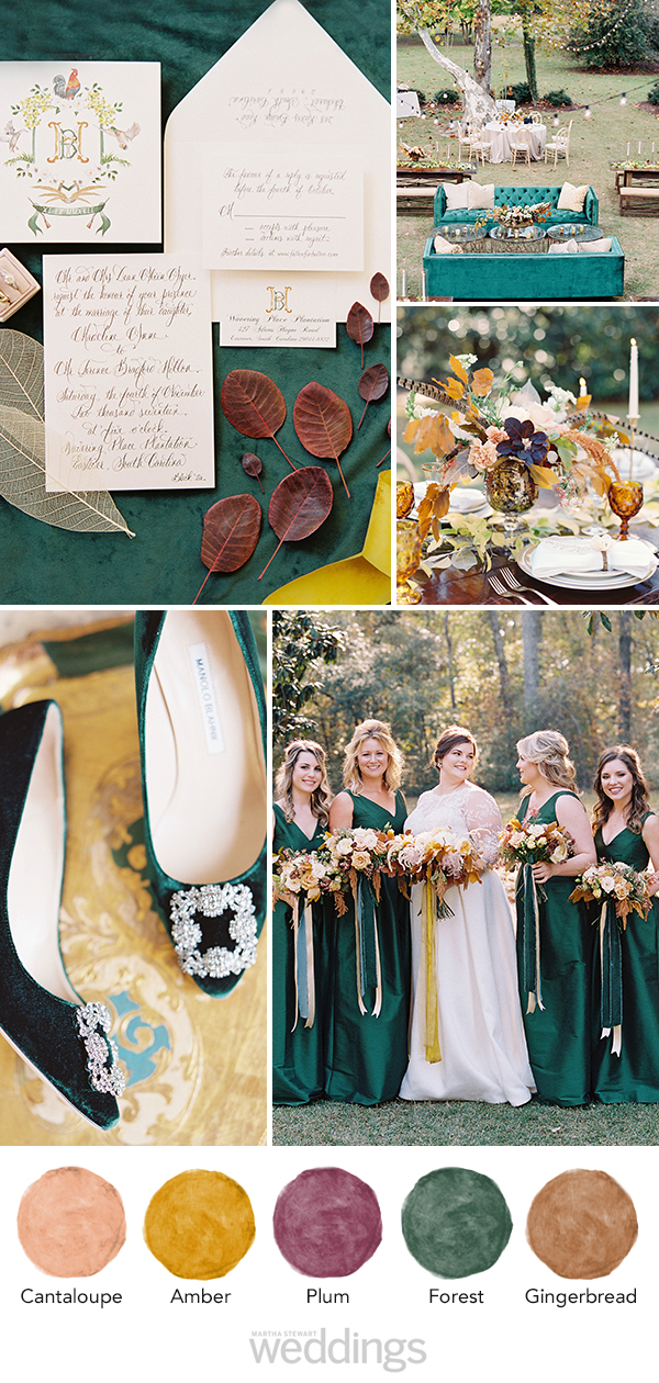 wedding color palette mood board cantaloupe, amber, plum, forest, gingerbread