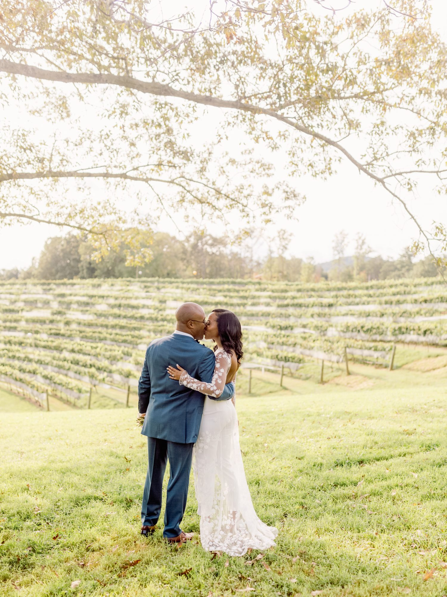 cayla david wedding couple kiss and embrace in front of a vineyard backdrop