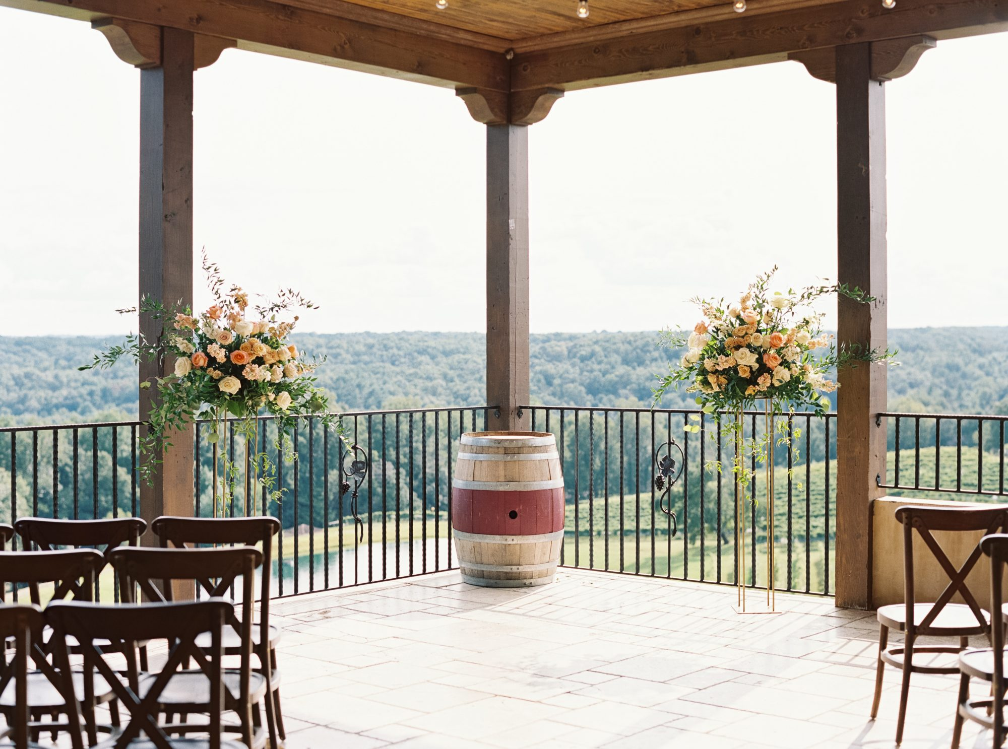 cayla david wedding venue outdoor terrace with views of the winery's vineyard