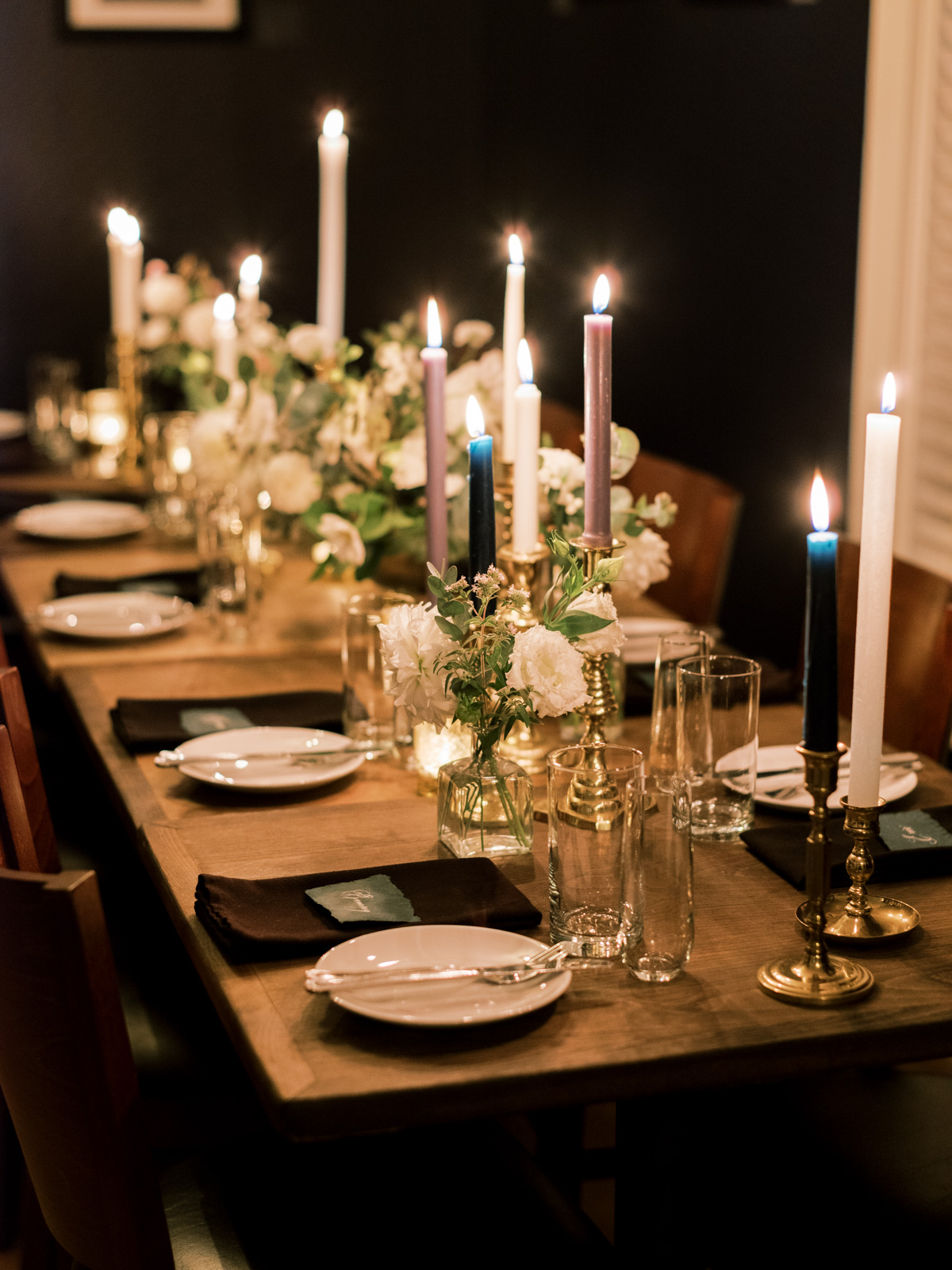 candle lit wedding dinner table