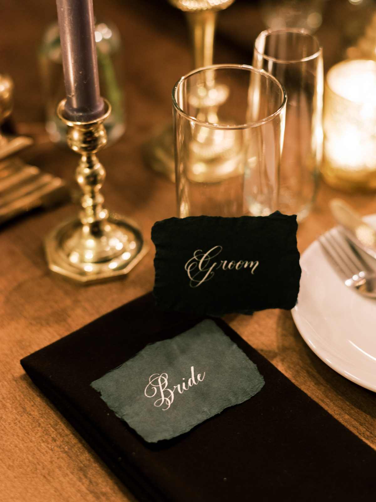 raw edge place cards wedding dinner table