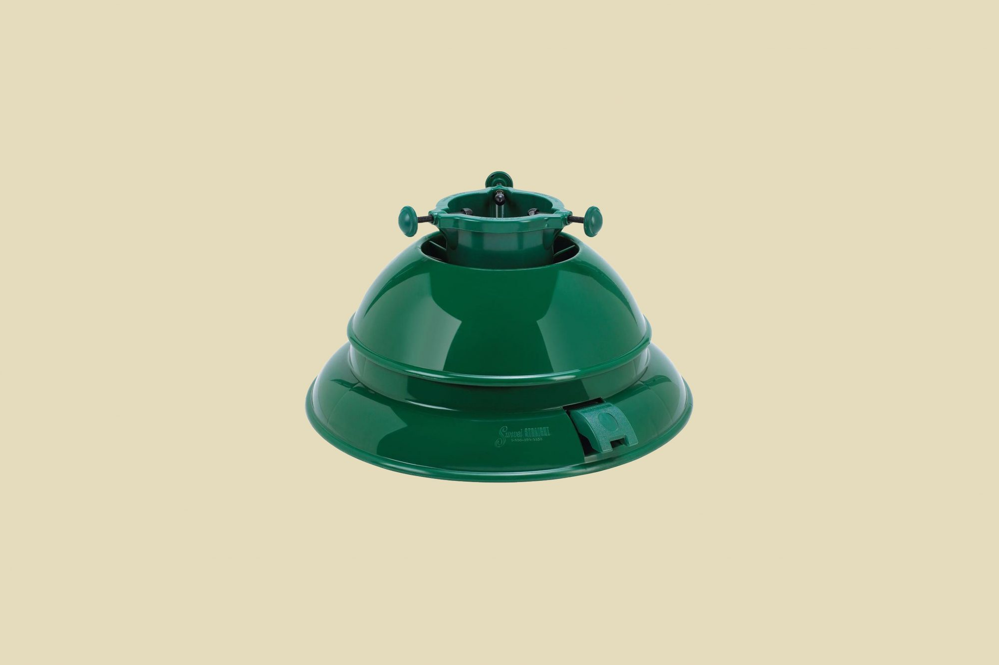 green metal christmas tree stand
