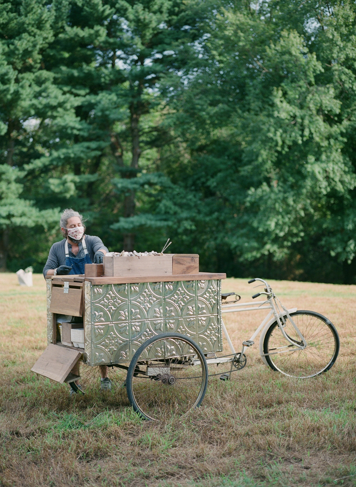 bicycle cart with oysters for picnic wedding reception