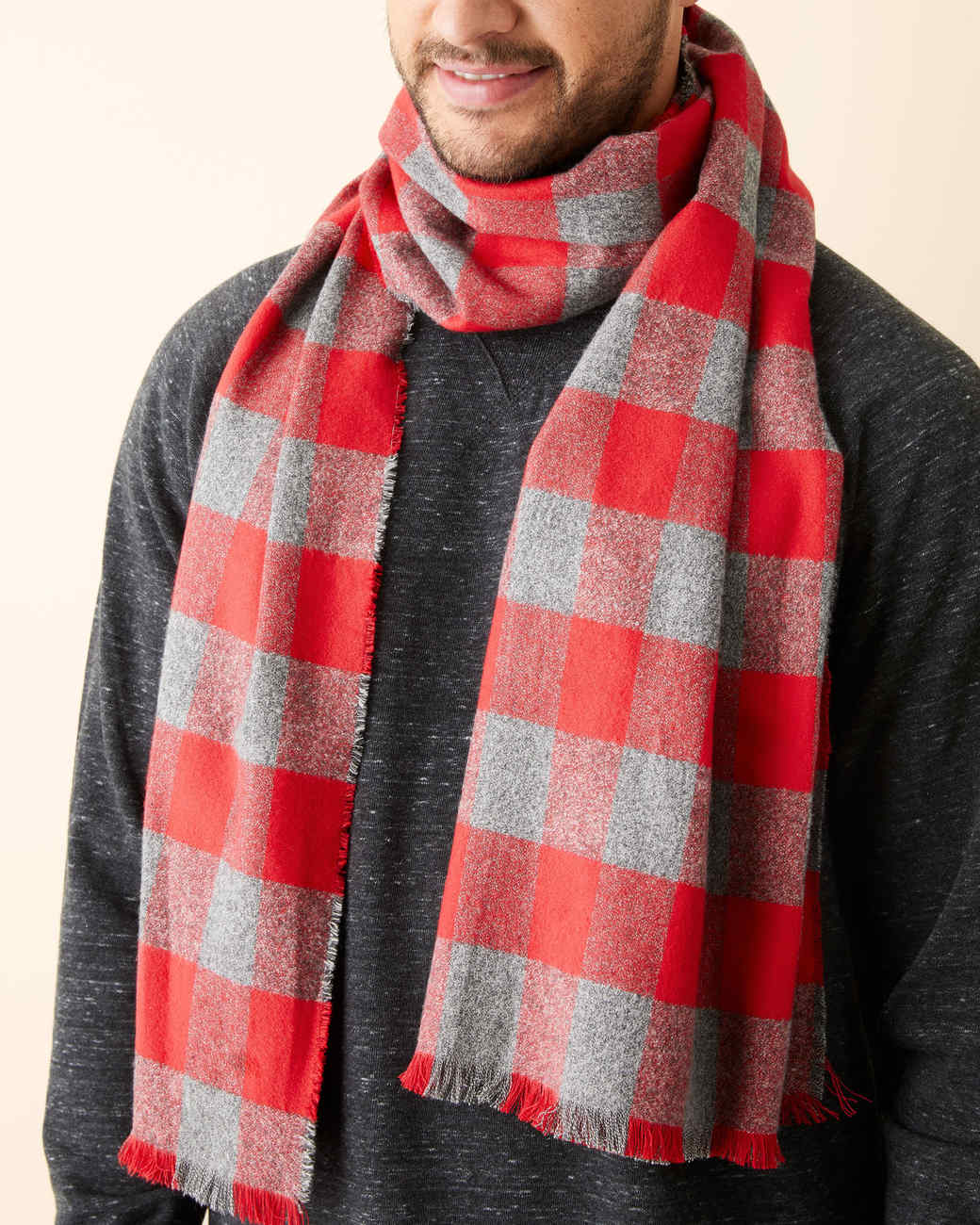 ma wearing red and gray no-sew plaid scarf
