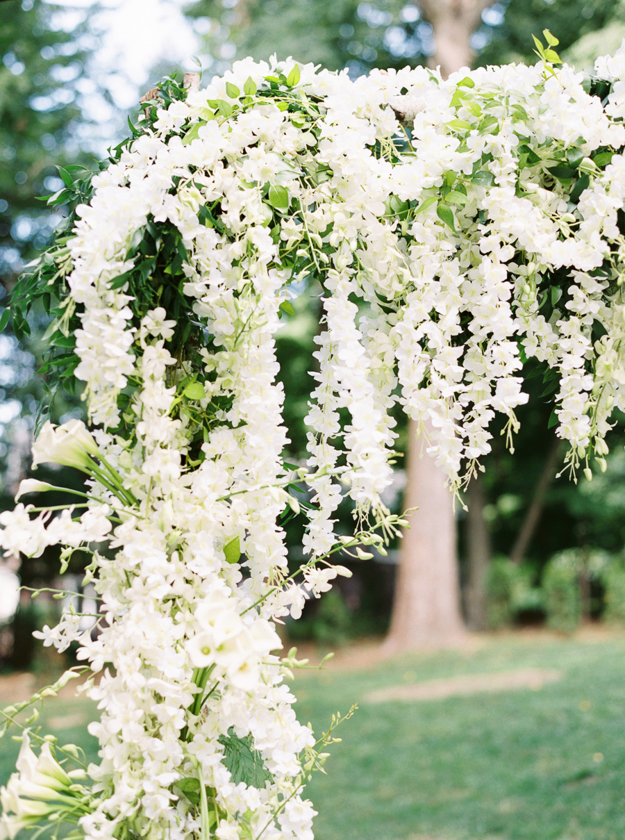 outdoor weeping wisteria floral arch