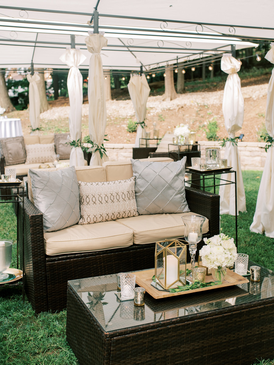 outdoor wedding lounge loveseats and coffee tables