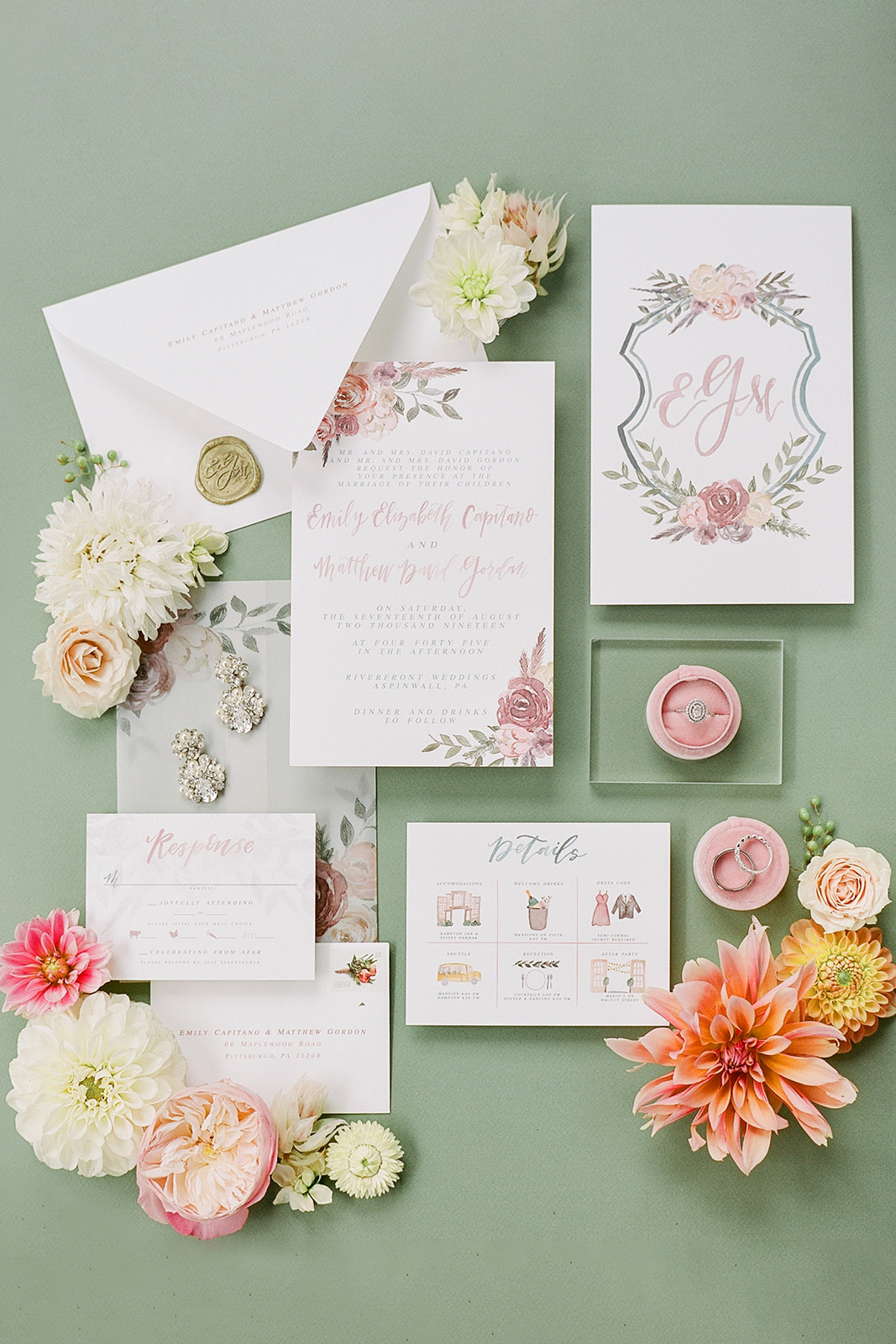 pink floral accented white stationery wedding invites
