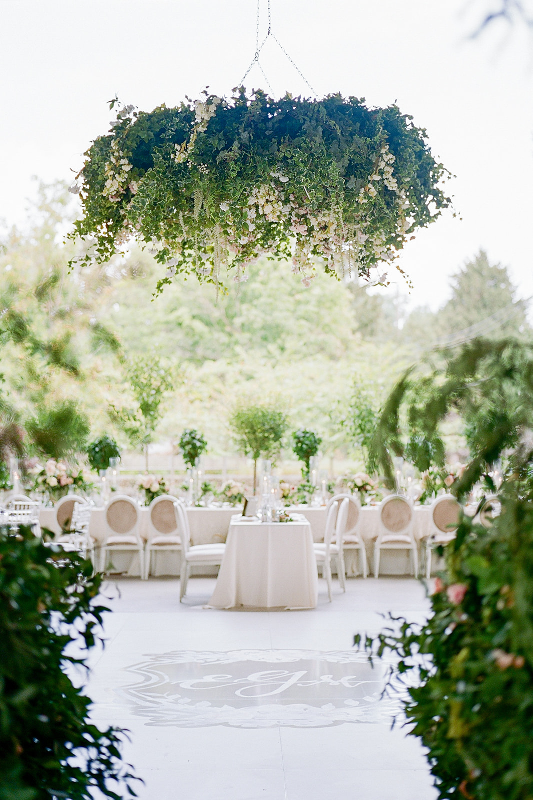 greenery decorated reception interior space