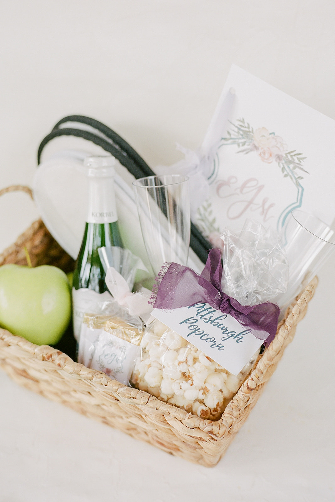 snack and goody filled wedding welcome baskets