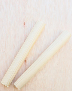 two dowels atop birch plywood