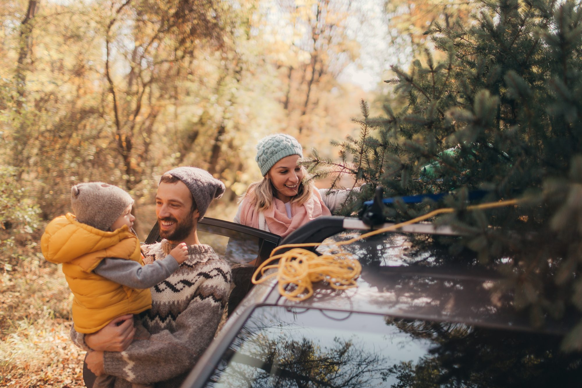 family securing a Christmas tree to the roof of their car